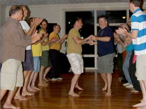 Men contra-dancing