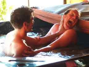 Two men in hot tub